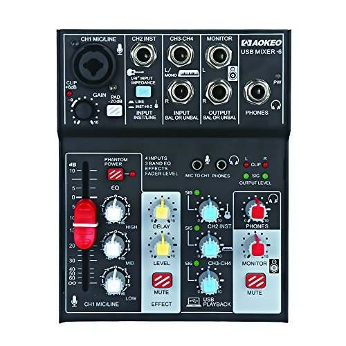 Aokeo 4-Channel/ 3-Band EQ Sound Card Audio Mixer USB Audio Interface, 48V Phantom Power Supply For Condenser Mic - Record On The Computer/Laptop/Macbook/Etc. (Mixer-6)