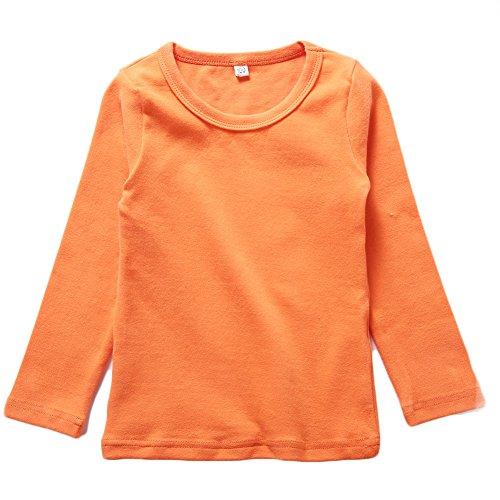 KISBINI Toddler Big Girls Long Sleeve Cotton Tees Kids T-Shirt Tops Orange 7T