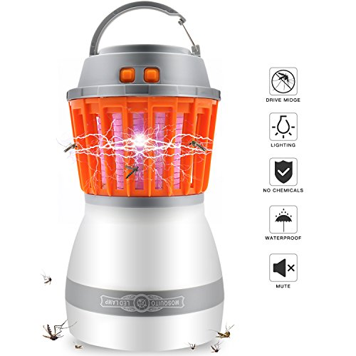 Bug Zapper Mosquito Killer Camping Lamp - 2 in 1 LED Light Insect Zapper IP67 Water proof Portable Rechargeable with USB Port For Outdoor Camping,Hiking,Fishing and Traveling by Wisedom