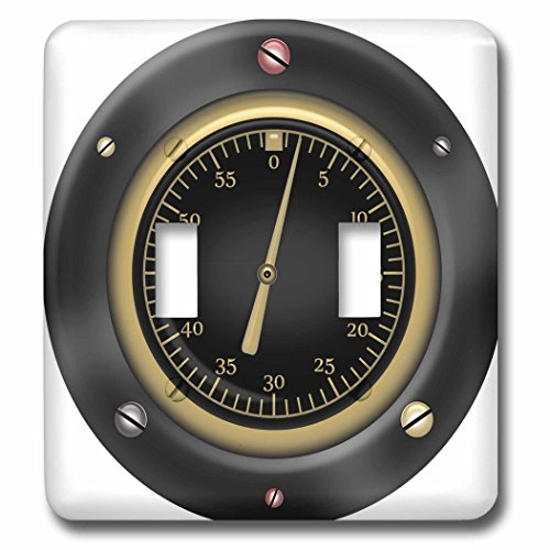 3D Rose LSP_235669_2 Black, Red, and Faux Gold Steampunk Speedometer Illustration Double Toggle Switch