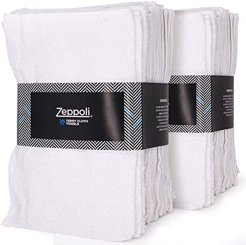 Zeppoli Auto Shop & Car Wash Towels - 50 Pack - 100% Pure White Cotton - 14 x 17 Inches Commercial Grade and Absorbent - Can be Used for Drying, Home Cleaning, or Bathroom Wash Cloths
