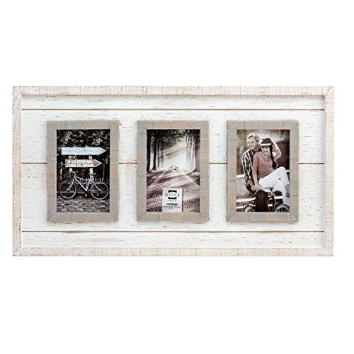PRINZ 3 Opening Madison Wood Collage Frame, 4 x 6, White/Gra