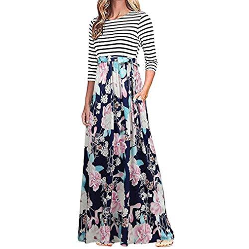 (Todaies Women Dress Women Floral Print Long Sleeve Dress High Waist Boho Long Maxi Dress with Pockets (M, Blue))