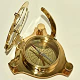 4''Brass Sundial Compass Maritime West London Marine Working Compass 2 Pieces