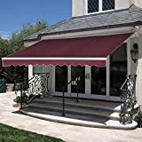 MCombo 12x10 Feet Manual Retractable Patio Door Window Awning Sunshade Shelter Outdoor Canopy (Burgundy)