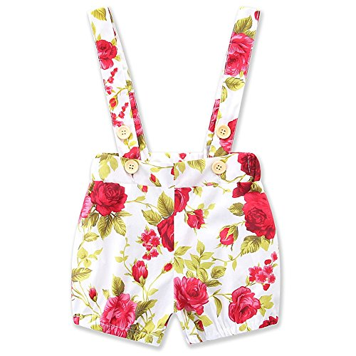 Toddler Girls Floral Headband Pant summer Rompers Jumpsuits Leggings Outfits (12M)