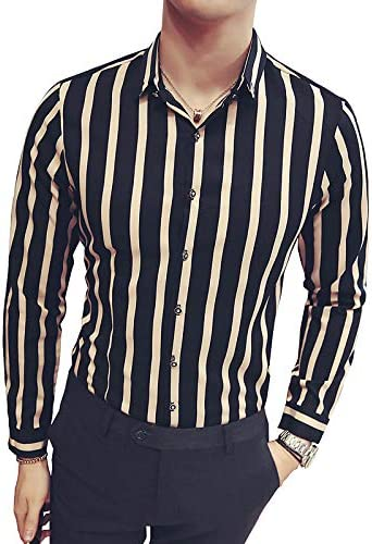 IYFBXl Camisa Slim para Hombre A RayasColor Block Classic