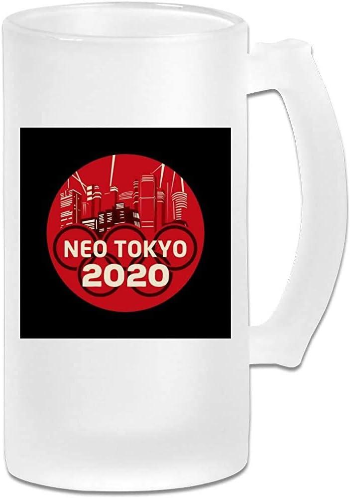 Taza de jarra de cerveza de vidrio esmerilado de 16 oz impresa - Akira Neo Tokyo Olympics 2020 Mix - Taza gráfica