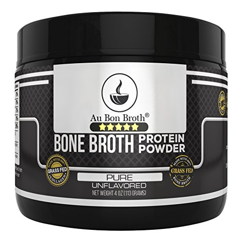 Genuine Grass Fed Organic Bone Broth Protein Powder Collagen 4oz. Pure/Unflavored 7 Servings, Mixes Instantly, Gluten Free, Pasture Raised, 100% Sourced, Made in USA, NOT from Concentrate (Sample Size