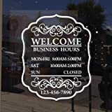 Mairbeatty Custom Store Hours Sign Decal Personalized Business Door Sticker Open Hours Window Coffee Shop Decor