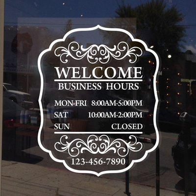 Maribeatty Custom Business Hours Window Decal Store Hours Sign Sticker White Vinyl Lettering Decor ()