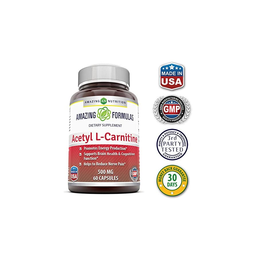 Amazing Formulas Acetyl L Carnitine Hcl Veggie Dietary Supplement 500 Mg, 60 Veggie Capsules Per Bottle Promotes Energy Production, Supporting Brain Heath & Cognitive Function