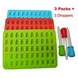 WQYK-3 PACK Gummy Bears Molds for Hard Candy & Chocolate Making- Silicone Soap and Ice Cube Trays- Party Buffet, Baking, Wedding Favor Maker & Baby Shower Supplies - Novelty / Silly Shapes - 50 Cavity (Blue Red Green, silicone)