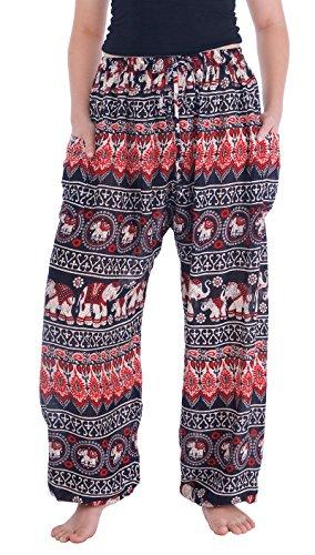 (Lannaclothesdesign Women's Elephant Hippie Boho Yoga Harem Pants (XL, Black Red Elephant Hippie))