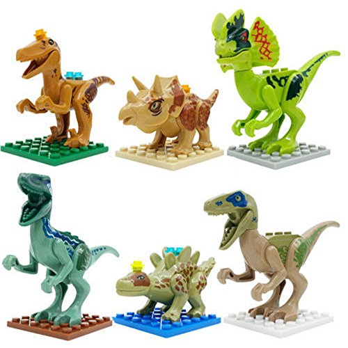 Minifigures Toys Blocks Dinosaur Rex Tyrannosaurus In Jurassic World Park 6pcs H (Replica Puppet Photo)