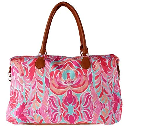 Lilly PulitzLilly Pulitzer Print Weekend Bag Canvas Leather Travel Totes Duffel Bager Print Boho Weekend Bag Canvas Leather Travel Totes Duffel Bag -