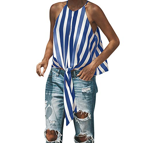 Witspace Women's Striped Sleeveless O Neck Front Tie Knot T Shirt Tops Blouse Tanks BU/XL Blue ()