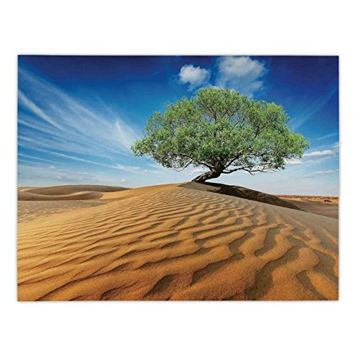 iPrint Rectangular Satin Tablecloth,Tree of Life,Tree in the Desert on Sand Dune Dry But Alive Nature Habitat Life Photo,Blue Cream Green,Dining Room Kitchen Table Cloth Cover