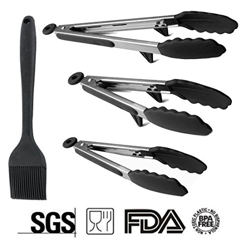 [Upgraded] DELIWAY Stainless Steel Kitchen Tongs Non-Stick Food Tongs With Silicone Tips and Stand for BBQ,Grill or Household ()
