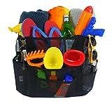 Large Mesh Beach Bag w/ Zipper Pocket, Heavy Duty Quality, Use as Durable Multi-Purpose Tote Bag, 8 Pockets & Key Clip
