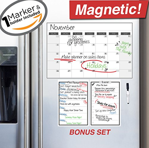 "Magnetic Dry Erase Refrigerator Calendar - 17"" x 11"" - 2017 Monthly Weekly Reusable Fridge Meal Planner - Custom Home Fridge Magnet White Board Chore Chart - Grocery & To Do List Organizer w/ Marker"