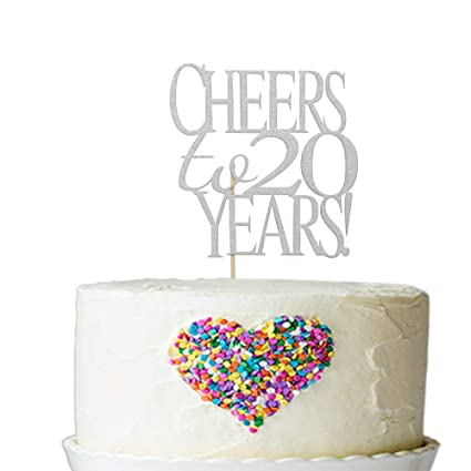 Amazon Sliver Glitter Cheer To 20 Years Cake Topper
