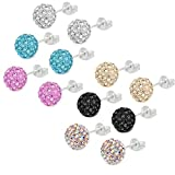 9-pave-ball-stud-earrings-lot-of-crystal-fireball-disco-ball-earrings-6-pairs