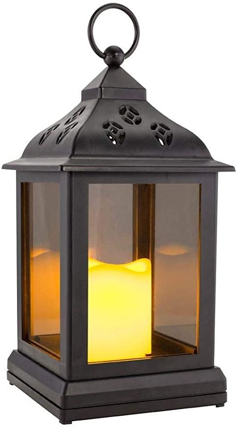 Battery Operated Window Lantern with Timer LED Candle Traditional Light Lamp