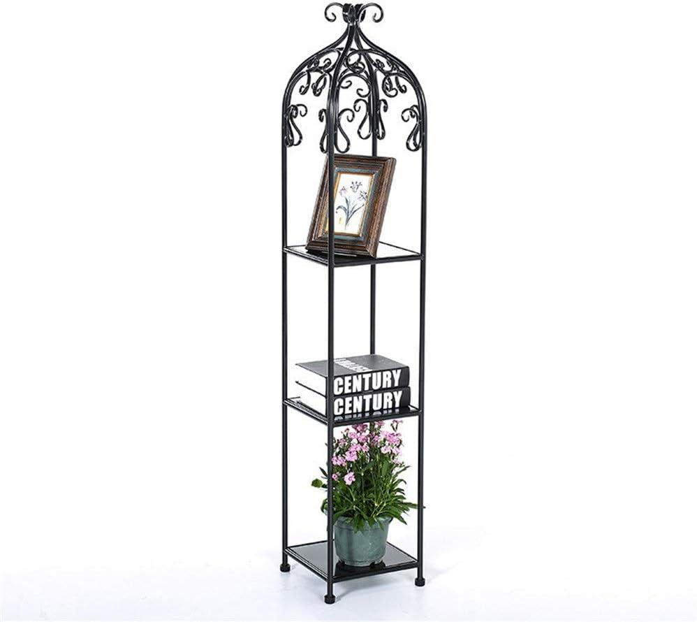 植物の立場の金属の植木鉢のホールダー3段の装飾的な金属は屋内植木鉢の棚の表示を立てます 複数プラント用 (色 : ブラック, サイズ : 135*25*25cm)
