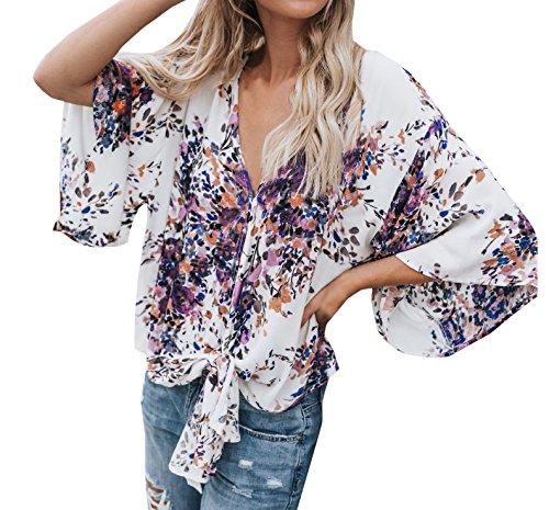 Shirt Tee T Casual Hauts Violet V Col Tops Blouses Impression Printemps Automne et 3 Femmes 4 Manches avec Bandage Chemisiers Lache napf6wTq6x