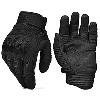 Army Military Hard Knuckle Tactical Combat Gloves Motorcycle Motorbike ATV Riding Full Finger Gloves for Men Airsoft Paintball Sport Biker Black Color