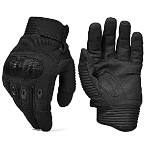 REEBOW TACTICAL Army Military Hard Knuckle Tactical Combat Full Finger Gloves, Small, Black