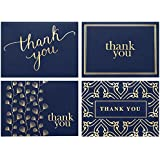 100 Thank You Cards Bulk - Thank You Notes, Navy Blue & Gold - Blank Note Cards with Envelopes - Perfect for Business, Wedding, Gift Cards, Graduation, Baby Shower, Funeral - 4x6 Photo Size