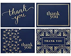 When quality matters.Spark Ink's elegant and classy navy thank you cards are printed on high-quality matte paper with embossed gold foil. Each card is designed to be sophisticated and appeal to a wide audience including men, women, teens, gra...
