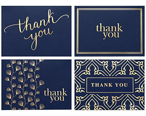 100 Thank You Cards Bulk - Thank You Notes, Navy Blue & Gold - Blank Note Cards with Envelopes - Perfect for Business, Wedding, Gift Cards, Graduation, Baby Shower, Funeral (White Vellum Business Card)