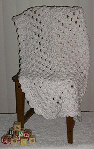 Cozy Size Handmade Baby Blanket (White) (Blankets Crocheted Hand Baby)