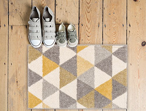 Woven Rug Mustard (Isometry Gold & Grey Modern Geometric Triangle Pattern 20