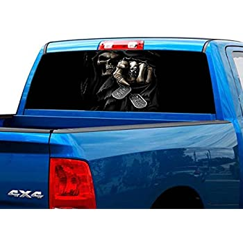 Truck Back Window Decals >> P460 Grim Reaper Tint Rear Window Decal Wrap Graphic Perforated See Through Universal Size 65 X 17 Fits Pickup Trucks F150 F250 Silverado Sierra