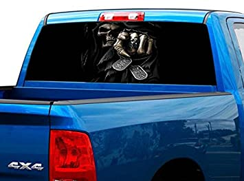 Truck Stickers For Back Window >> P460 Grim Reaper Tint Rear Window Decal Wrap Graphic Perforated See Through Universal Size 65 X 17 Fits Pickup Trucks F150 F250 Silverado Sierra