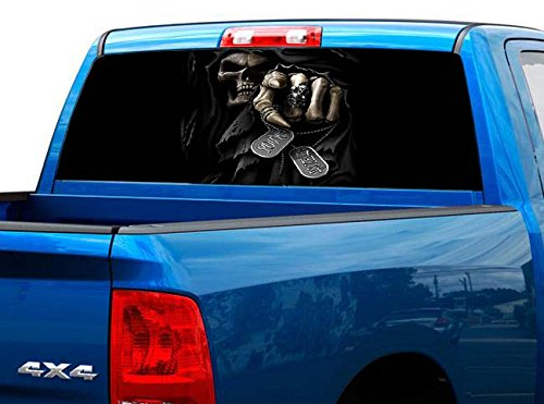 P460 Grim Reaper Tint Rear Window Decal Wrap Graphic Perforated See Through Universal Size 65