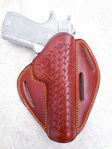- Dazzling Pro DAZZLING 1911 Colt Holster Basketweave, Right Hand OWB Leather Gun Holster, 5-Inch (Brown)