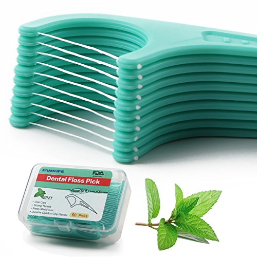 Floss Picks Mint Dental Floss Picks with Travel Handy Cases 60 Counts Flossers by FAMILIFE