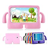 Lioeo Samsung Galaxy Tab 3 / 3 Lite 7.0 Case for Kids Rubber Shock Proof Protective Case Cover with Carry Handle for Samsung Galaxy Tab 3 /3 Lite Tablet 7 inch Screen (Pink)