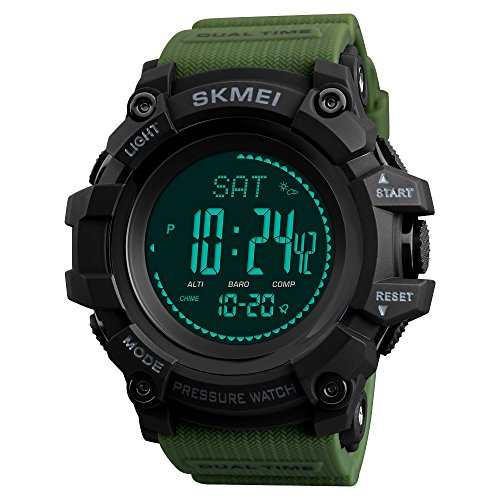 SKMEI 1358 Mens Sports Watches Hours Pedometer Calories Digital Watch Altimeter Barometer Compass Thermometer Weather Men Watch (Army Green)