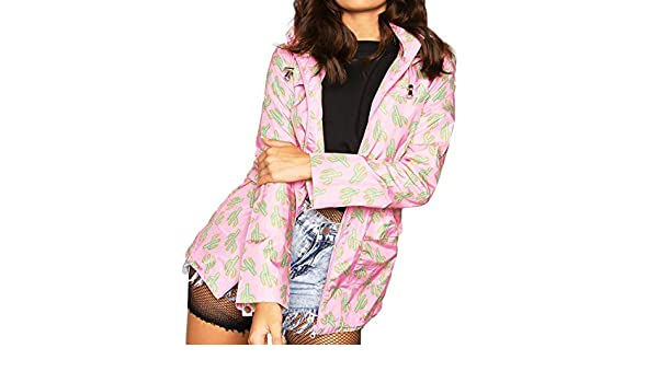 53ded8993c96f Womens Cactus Print Lightweight Parka Raincoat at Amazon Women s Coats Shop