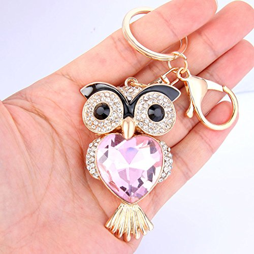 Fashion Lovely Lucky Owl Keychain Diamond Crystal Rhinestone Gold Crystal Charm Pendent Handbag Purse Bag Key Ring Keyfob Charm for Girl and Women Gift-Pink