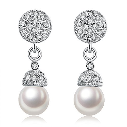 Love Direct Dangling Platinum Plated Czech Drill Faux Pearl Pendant Earrings for Women (Platinum (Tin Man Nose)