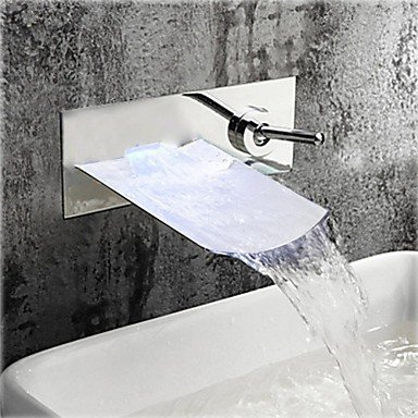 Color Changing Led Waterfall Gold Finish Bathroom Sink Faucet