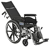 Drive Medical Viper Plus GT Full Reclining Wheelchair, Detachable Full Arms, 20' Seat
