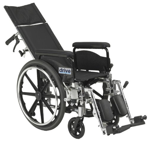 Wide Detachable Full Arms - Drive Medical Viper Plus GT Full Reclining Wheelchair, Detachable Full Arms, 20
